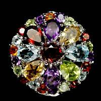 """Серебряное кольцо 925 пробы с натуральными самоцветами """"Цветок Желаний"""". Размер 17"""