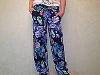 Брюки шаровары - штаны с карманами в цветы Одесса, фото 1