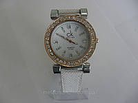 Женские часы Calvin Klein quartz  белые c золотом (Арт. 1539)