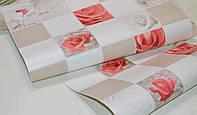 Обои на стену, яркий рисунок, розы, бежевый, виниловые, Алмаз 5507-01,супер мойка, 0,53*10м