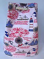 Пляжная текстильная летняя сумка рюкзак для пляжа и прогулок  морской принт