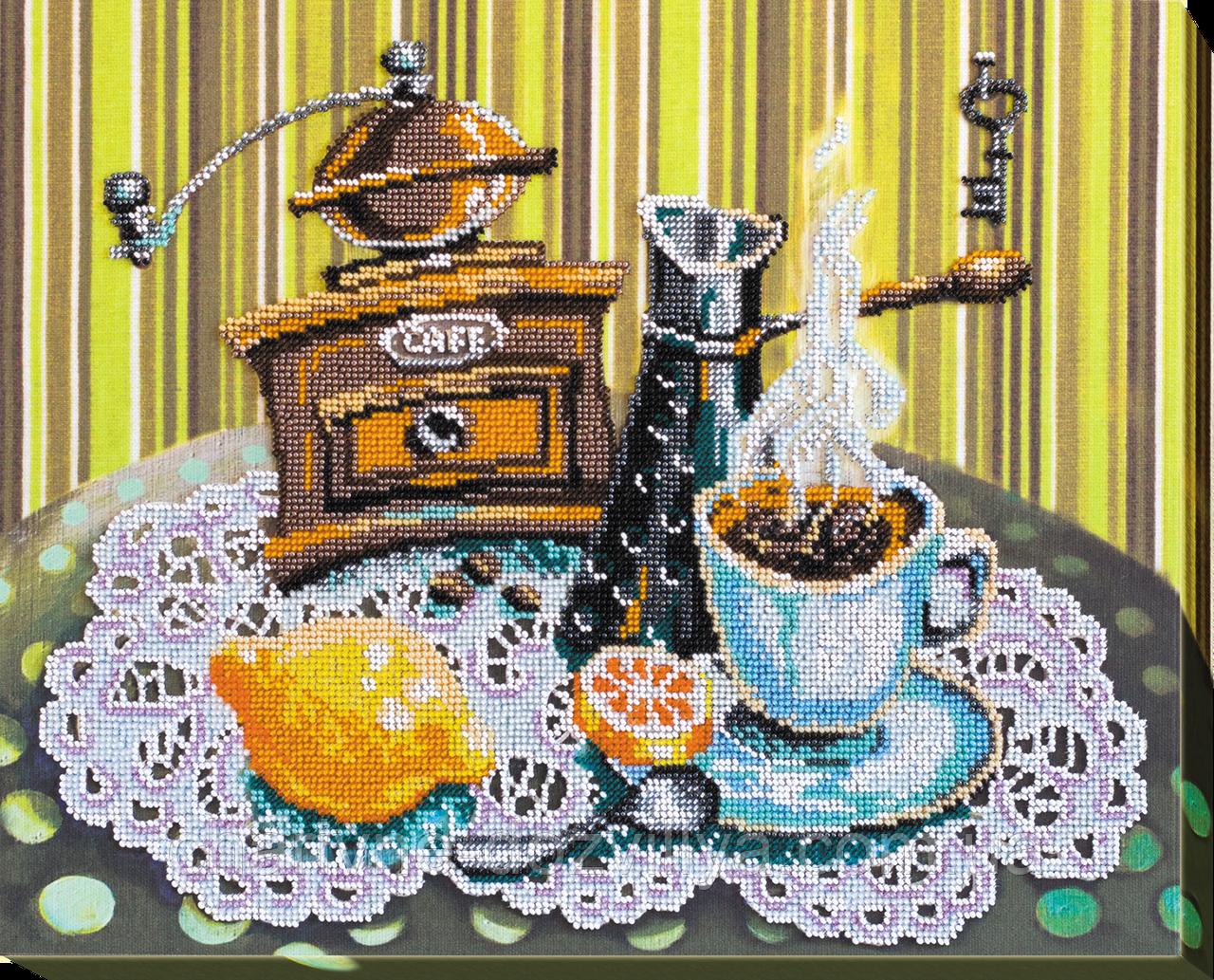 """Набор для вышивания бисером на художественном холсте """"Кофе с лимоном"""""""