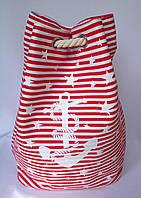 Пляжная текстильная летняя сумка рюкзак для пляжа и прогулок Море цвет красный
