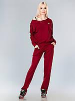 Спортивный костюм двунитка бордовый с вырезами на рукавах