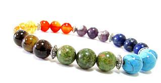 Браслет. 7 чакр. Натуральные камни. Металлические элементы