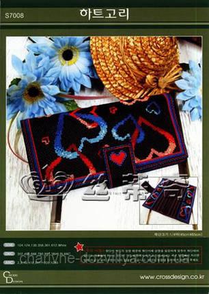 Набор для вышивания крестиком клатч Сердца, фото 2