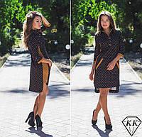 Платье горох 15876 с коричневыми вставками