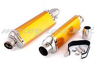 Глушитель (тюнинг) 460*130mm (нержавейка, три-овал, золотой, прямоток) 118