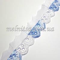 Кружево-прошва,  3 см, цвет белый с голубым