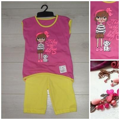 Костюм для девочки: туника+бриджи. Размер 30,, (укр) розовый+желтый