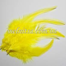 "Перья  ""под фазана"", цвет желтый,  10-15 см"