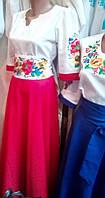 Молодежное платье вышиванка с вышитым поясом