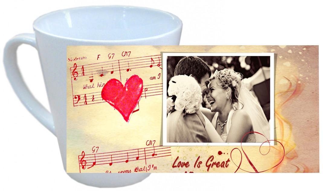Чашка с Вашим дизайном LATTE средняя (конус)