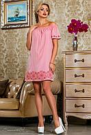 Летнее платье из поплина (хлопок), розовое, с вышивкой, с открытыми плечами, размеры 42-52