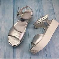 Босоножки женские на платформе кожаные серебро 0095АЛМ