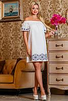Летнее платье из поплина (хлопок), белое, с вышивкой, с открытыми плечами, размеры 42-52
