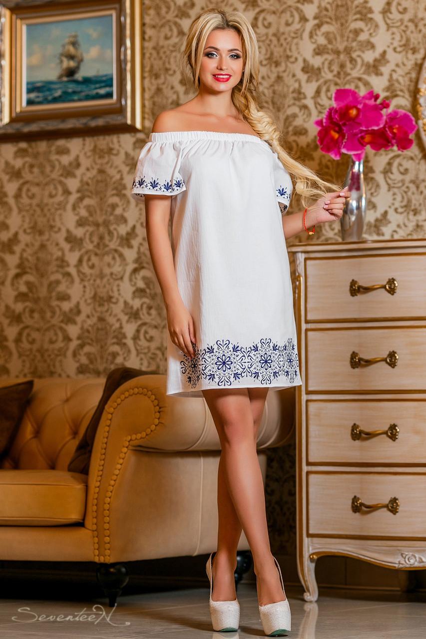 569086acad0e Летнее платье из поплина (хлопок), белое, с вышивкой, с открытыми плечами