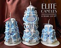 Свадебные именные свечи с лебедями на церемонию зажигания семейного очага
