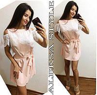 Женское стильное платье с кружевом (расцветки), фото 1