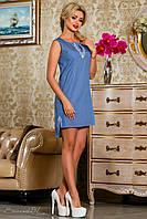 Синее короткое платье из коттона (хлопок) в горошек, с вышивкой, размеры 42-50
