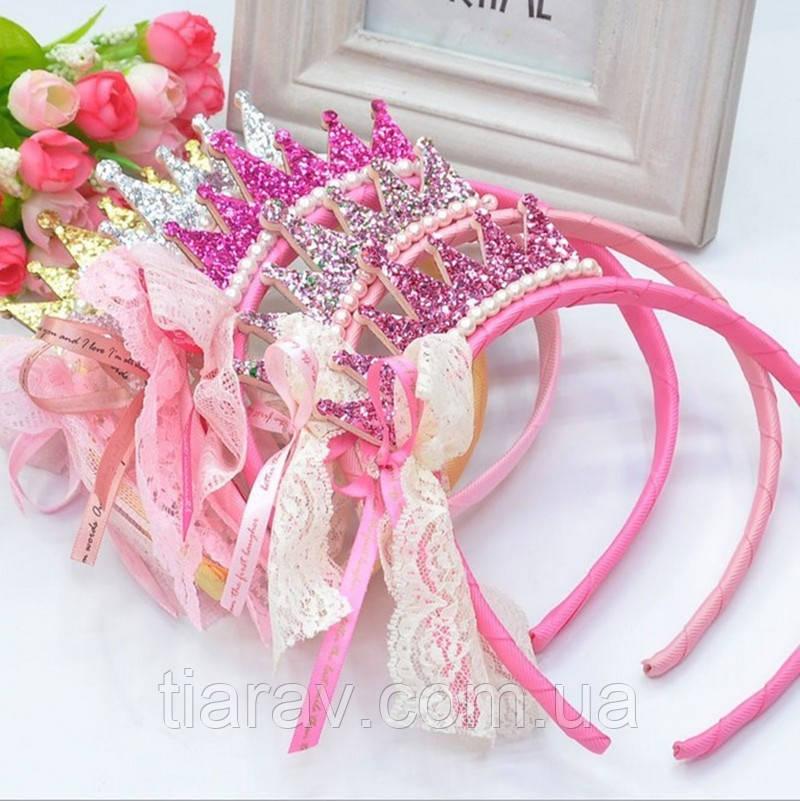 Детская корона - обруч для волос МЕТАЛЛИК розовый ободок коронка детская