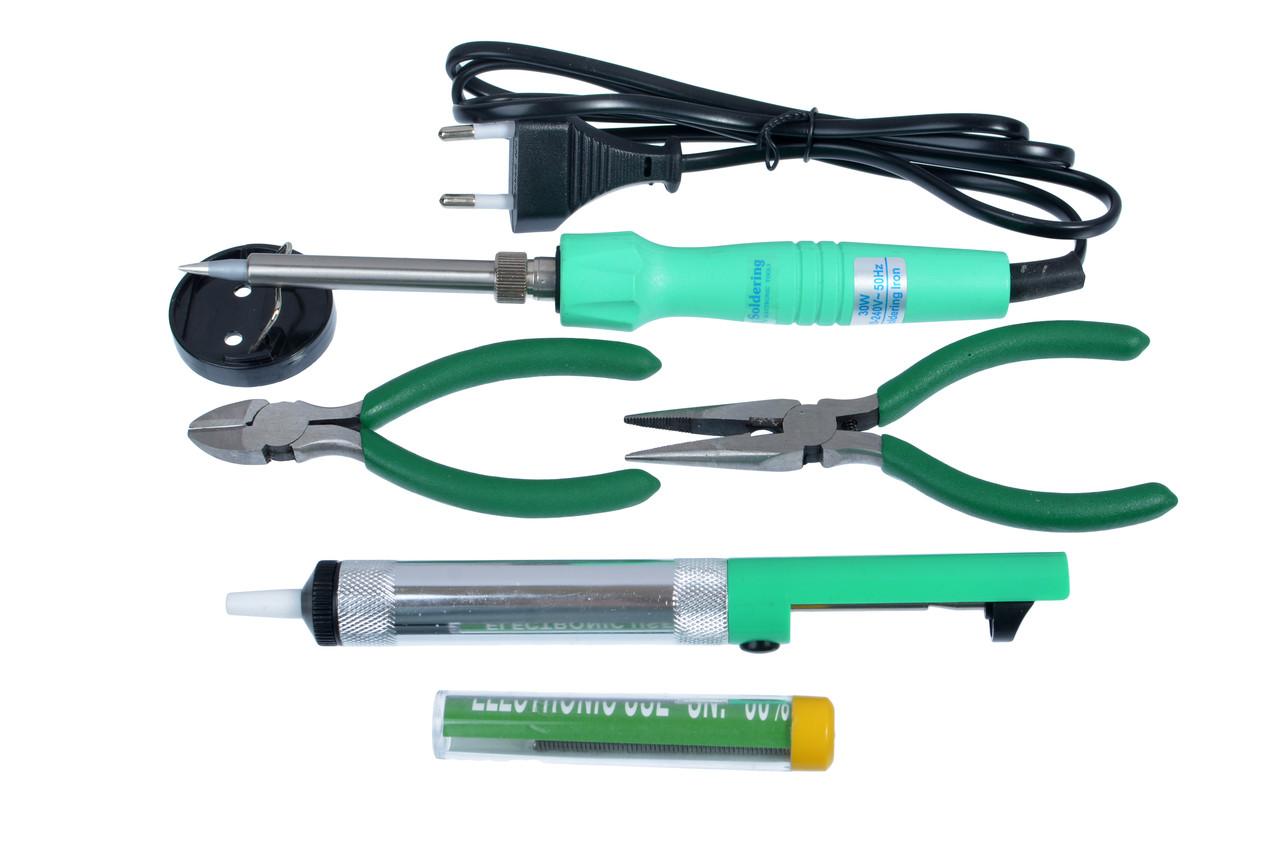 Набор для пайки ZD-921C в боксе (паяльник, подставка, припой, оловоотсос, плоскогубцы 2шт)