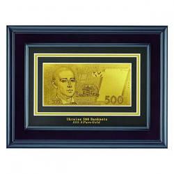Золотая купюра 500 грн в деревянной рамке