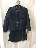 Школьная форма детская костюм двойка на девочку 6-10 лет,темно синий