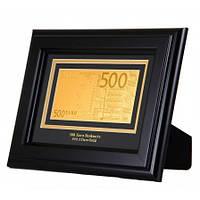 Банкнота золотая в деревянной рамке 500 EURO