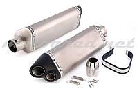 Глушитель (тюнинг) 380*125mm (нержавейка, три-овал, матовый, прямоток) 118