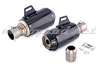 Глушитель (тюнинг) 380*125mm (нержавейка, три-овал, карбон светлый, прямоток, mod:5) 118