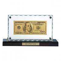 Золотая купюра 100 $ настольная акриловая