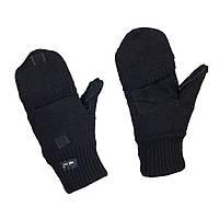 Перчатки беспалые с клапаном вязаные черные