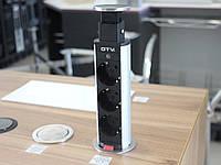 Встраиваемый розеточный блок подъёмный GTV AE-BPW3S60-80 3 розетки без заземления Серый (42411)