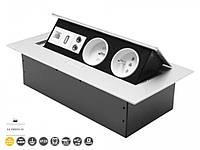 Встраиваемый розеточный блок поворотный GTV AE-PB02GU-53 2 розетки+USB+Ethernet с заземлением Алюминий (42424)