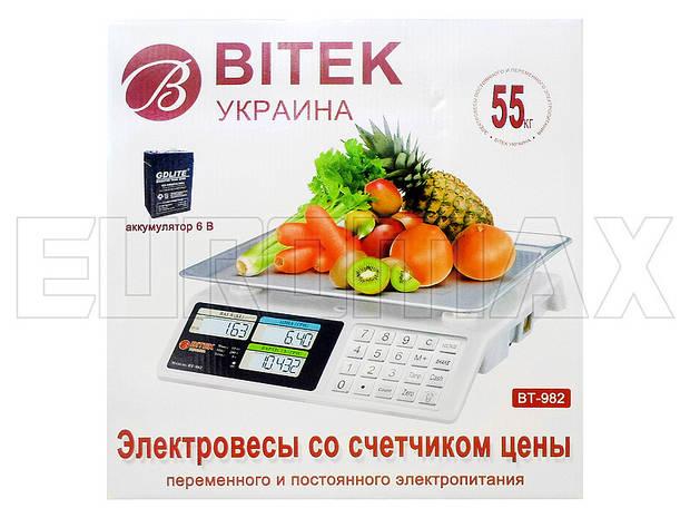 Весы электронные торговые BITEK 55кг металлические кнопки YZ-982S