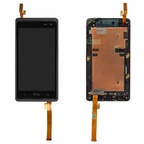 Дисплей (экран) для HTC 600 Desire Dual Sim/606w с сенсором (тачскрином) и рамкой черный