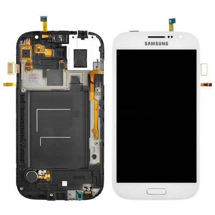 Дисплей (экраны) для Samsung i9082 Galaxy Grand Duos с сенсором (тачскрином) и рамкой белый, фото 2