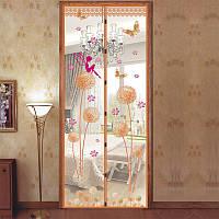 Антимоскитная сетка штора на магнитах на двери 100х210 см Одуванчик