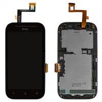 Дисплей (экран) для HTC T326e Desire SV + с сенсором (тачскрином) и рамкой черный Оригинал
