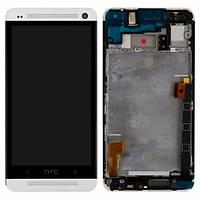 Дисплей (экран) для HTC 802w One M7 Dual Sim + с сенсором (тачскрином) и рамкой белый Оригинал