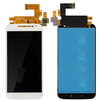 Дисплей (экран) для Motorola XT1620 Moto G4/XT1621/XT1622/XT1624 + с сенсором (тачскрином) белый Оригинал