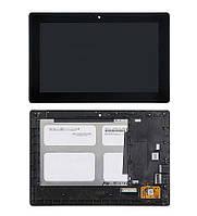 Дисплей (экран) Lenovo S6000 с сенсором (тачскрином) и рамкой черный Оригинал