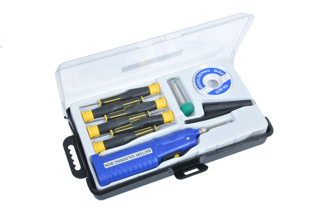 Паяльный набор ZD-972D с паяльником 8Вт 4,5V на батарейках (припой+ лента +6 отверток) (210063-10)