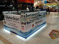 Торговый островок стеклянный в торговый центр, витрина островная, прилавки стеклянные, островное оборудование в торговый центр.