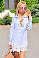 Платье в полоску с гипюровым карманом, на шнуровке, низ платья-отделка из дорогого кружева.
