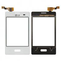 Сенсор (тачскрин) LG E425 Optimus L3 II с передней панелью White