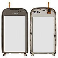 Сенсор (тачскрин) Nokia C7-00, зеркальный, с передней панелью серебристого цвета
