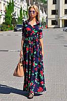 Шикарное платье-рубашка в пол с карманами по бокам, в цветочный принт.