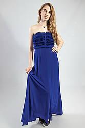 Платье женское длинное вечернее выпускное для торжеств синее Lussile